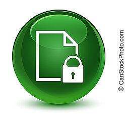 Secure document icon glassy soft green round button