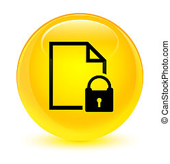 Secure document icon glassy yellow round button