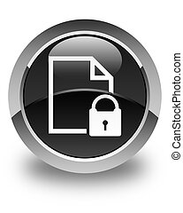 Secure document icon glossy black round button