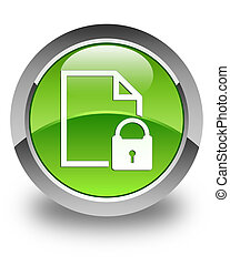 Secure document icon glossy green round button