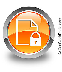 Secure document icon glossy orange round button