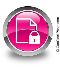 Secure document icon glossy pink round button