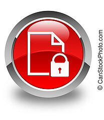 Secure document icon glossy red round button