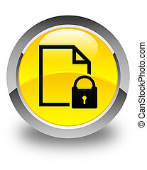 Secure document icon glossy yellow round button
