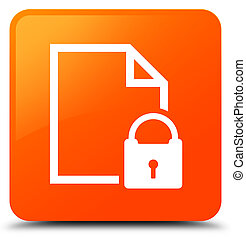 Secure document icon orange square button