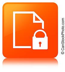 Secure document icon orange square button