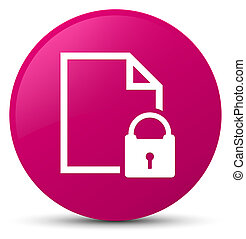 Secure document icon pink round button