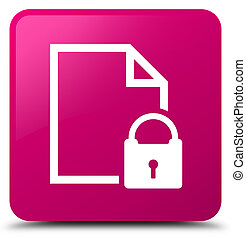 Secure document icon pink square button