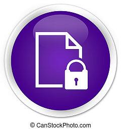 Secure document icon premium purple round button