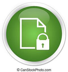 Secure document icon premium soft green round button