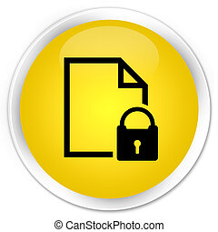 Secure document icon premium yellow round button