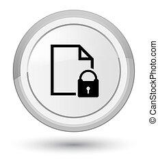 Secure document icon prime white round button