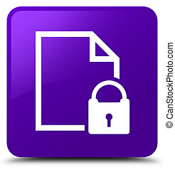 Secure document icon purple square button