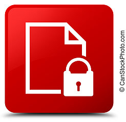 Secure document icon red square button