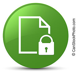 Secure document icon soft green round button