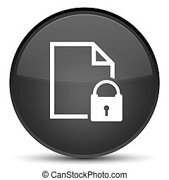 Secure document icon special black round button