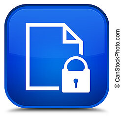 Secure document icon special blue square button