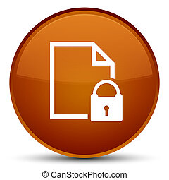 Secure document icon special brown round button