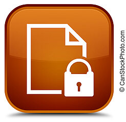 Secure document icon special brown square button