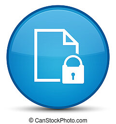 Secure document icon special cyan blue round button