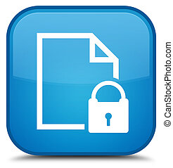 Secure document icon special cyan blue square button