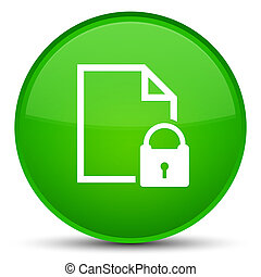 Secure document icon special green round button