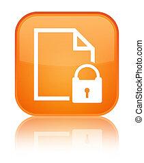 Secure document icon special orange square button