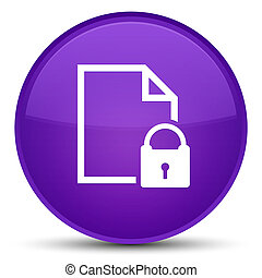 Secure document icon special purple round button