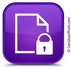 Secure document icon special purple square button