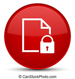 Secure document icon special red round button