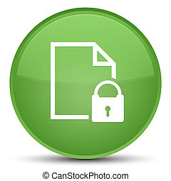 Secure document icon special soft green round button