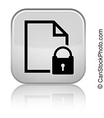 Secure document icon special white square button