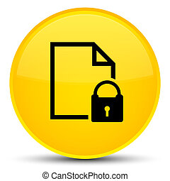 Secure document icon special yellow round button