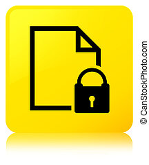Secure document icon yellow square button