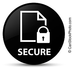 Secure (document page padlock icon) black round button