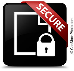 Secure (document page padlock icon) black square button red ribbon in corner