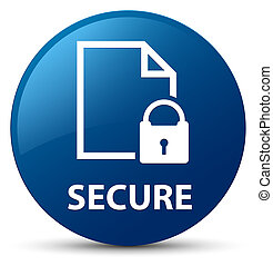 Secure (document page padlock icon) blue round button