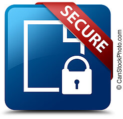 Secure (document page padlock icon) blue square button red ribbon in corner