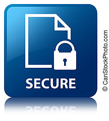 Secure (document page padlock icon) blue square button