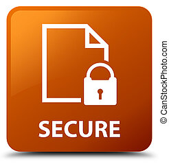 Secure (document page padlock icon) brown square button