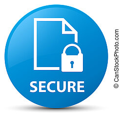 Secure (document page padlock icon) cyan blue round button