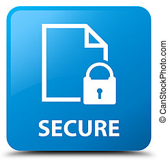 Secure (document page padlock icon) cyan blue square button