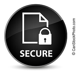 Secure (document page padlock icon) elegant black round button