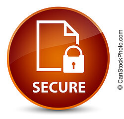 Secure (document page padlock icon) elegant brown round button