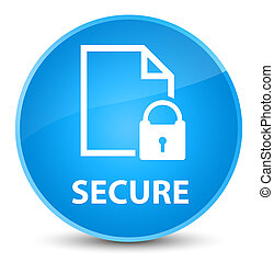 Secure (document page padlock icon) elegant cyan blue round button