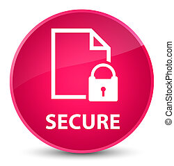 Secure (document page padlock icon) elegant pink round button