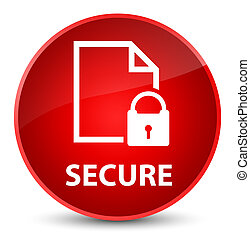 Secure (document page padlock icon) elegant red round button