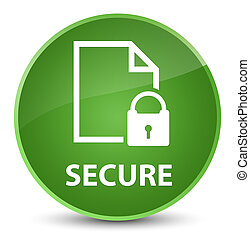 Secure (document page padlock icon) elegant soft green round button