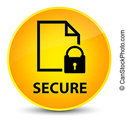Secure (document page padlock icon) elegant yellow round button