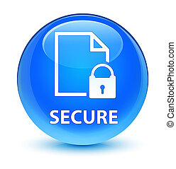 Secure (document page padlock icon) glassy cyan blue round button